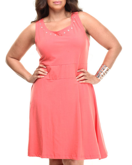Apple Bottoms - Women Coral Studded Knit Skater Dress (Plus)