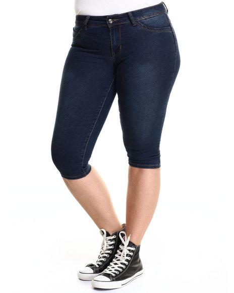 Basic Essentials - Women Dark Wash Booty Basic Skinny Capri (Plus)