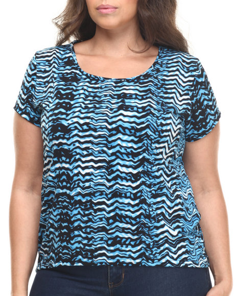 Fashion Lab - Women Blue Plus Size Hi Low Printed Tops