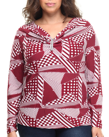 Fashion Lab - Women Dark Red Plus Size Long Sleeve Top W/ Rhinestones