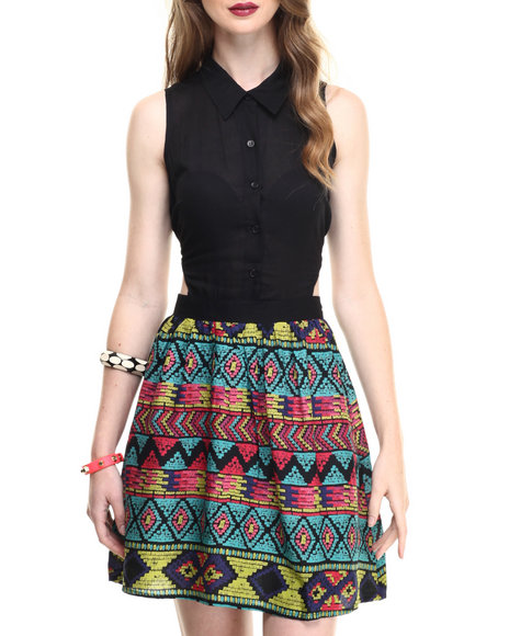 Ur-ID 216745 ALI & KRIS - Women Black,Multi Aztec Print Open Back Dress