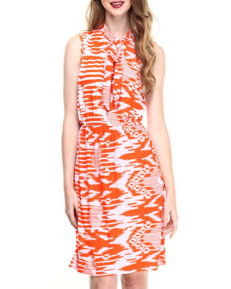 Ur-ID 216747 Fashion Lab - Women Orange Sleeveless Woven Dress W/ Self Tie Bow