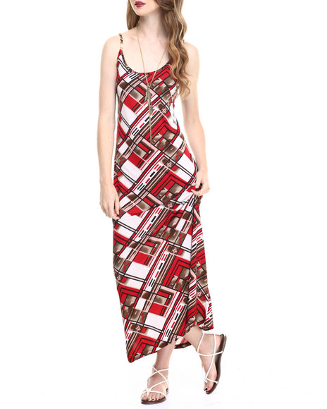 Ur-ID 216774 Fashion Lab - Women Red Printed Maxi Dress
