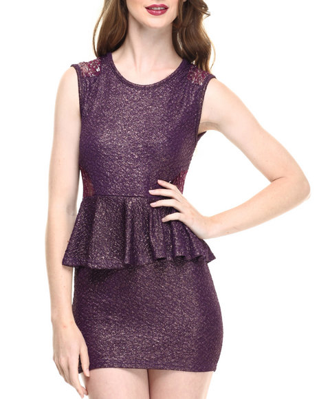 Fashion Lab - Women Purple Jr. Shimmering Peplum Dress