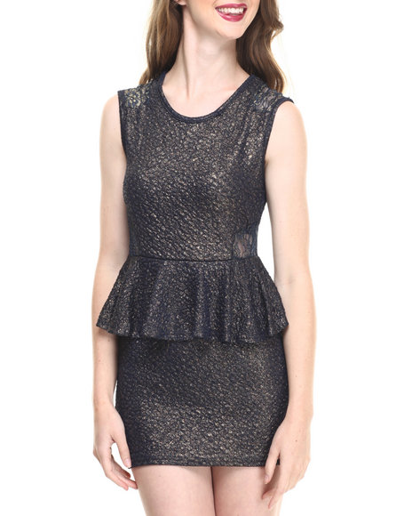 Fashion Lab - Women Gold,Navy Jr. Shimmering Peplum Dress - $8.99