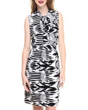 Fashion Lab - Sleeveless Woven Dress w/ Self Tie Bow