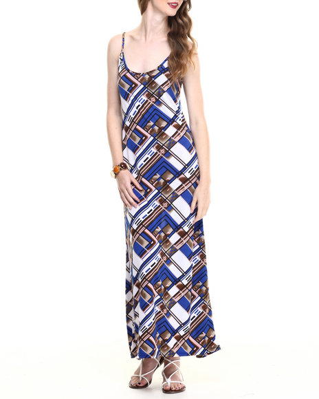 Ur-ID 216794 Fashion Lab - Women Blue Printed Maxi Dress