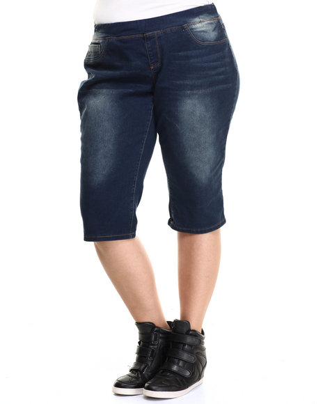 Ur-ID 215453 Basic Essentials - Women Dark Wash Pull-On Denim Capri (Plus)