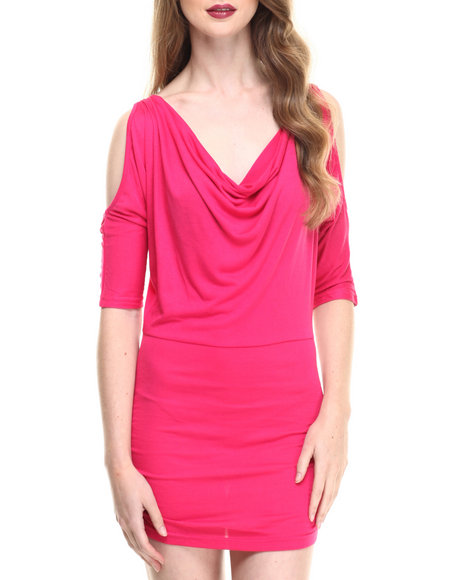 Fashion Lab - Women Pink Knited Dress W/Mesh Back