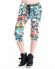 Women - Tie-Dyed Graffiti Printed Joggers