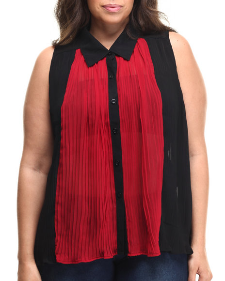 Fashion Lab - Women Black,Dark Red Black Chiffon Top (Plus)