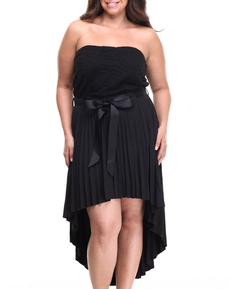 Fashion Lab - Women Black Candice Knitted Hi-Lo Tube Top Dress (Plus)
