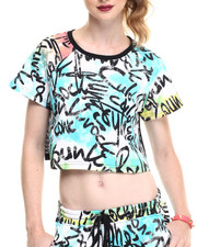 Women - Tie-Dyed Graffiti Printed Mesh Back Crop Top