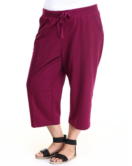 Fashion Lab - Women Dark Red Plus Size French Terry Capri Pants - $7.99