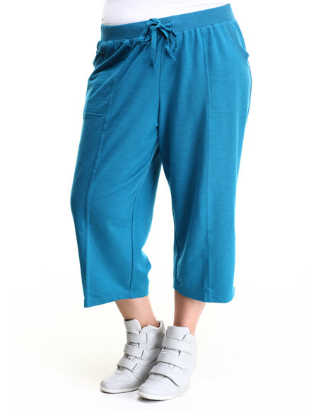 Fashion Lab - Women Turquoise Plus Size French Terry Capri Pants - $11.99