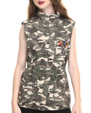 Women - Jeweled Zip Trim Camo Vest