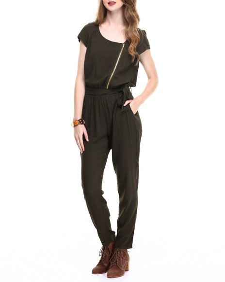 Ur-ID 216744 ALI & KRIS - Women Olive Zip Front S/S Jumpsuit