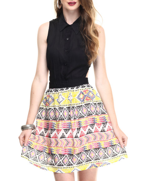 Ur-ID 216746 ALI & KRIS - Women Black,Multi Tribal Print Open Back Dress