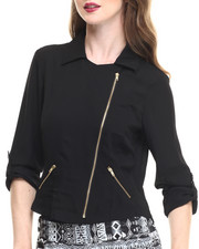 Women - Zip Front Roll Sleeve Light Jacket