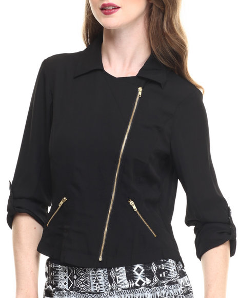 Ur-ID 216752 ALI & KRIS - Women Black Zip Front Roll Sleeve Light Jacket