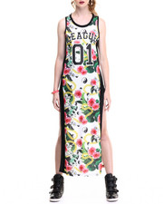 Women - White Flower Printed Mesh Tank High Slit Sides Dress