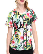 Women - White Flower Printed Baseball Jersey