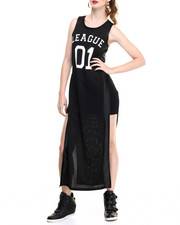 Women - Mesh Tank High Slit Sides Dress
