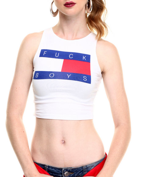 Hellz Bellz - Women White Boyz Crop Tank Top - $28.00