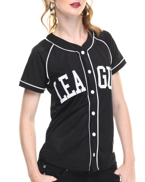Ur-ID 216661 SOHO BABE - Women Black Mesh Baseball Jersey
