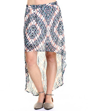 Women - Abstract Print Chiffon High-Low Hem Skirt