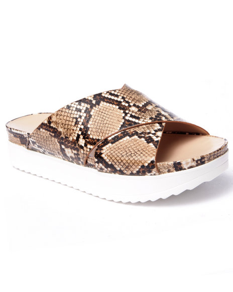 Fashion Lab - Women Tan Chiffon Snake Slip-On Sandals