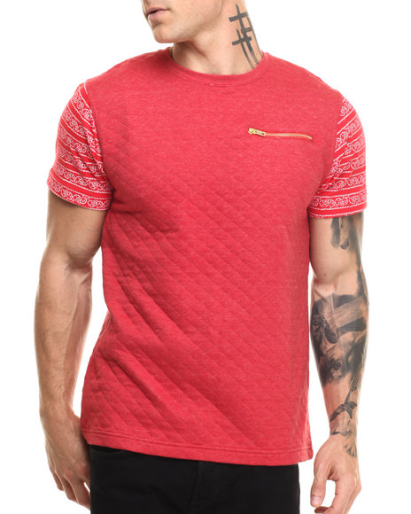 Well Established - Men Red Quilted 2-Tone S/S Tee