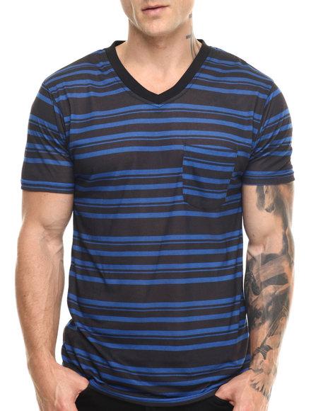 Basic Essentials - Men Blue Striped V - Neck S/S Tee - $10.99