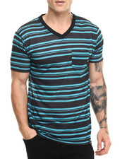 T-Shirts - Striped V - Neck S/S Tee