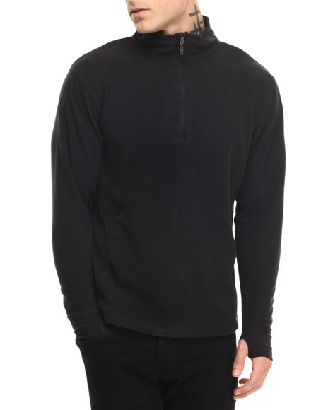 Basic Essentials - Men Black Half - Zip Arctic Fleece Pullover - $18.99