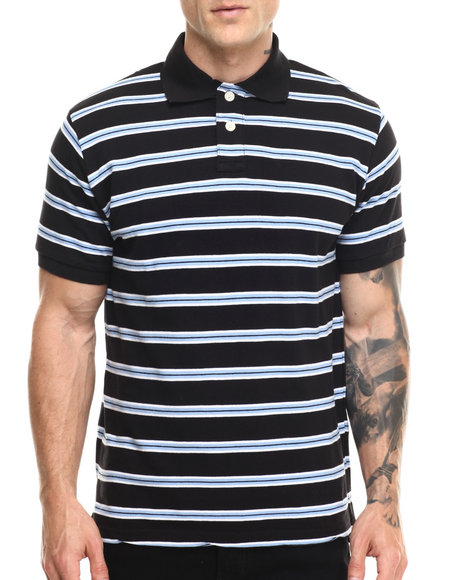 Ur-ID 216816 Basic Essentials - Men White Striped Pique S/S Polo