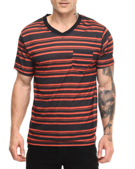 Ur-ID 216817 Basic Essentials - Men Orange Striped V - Neck S/S Tee