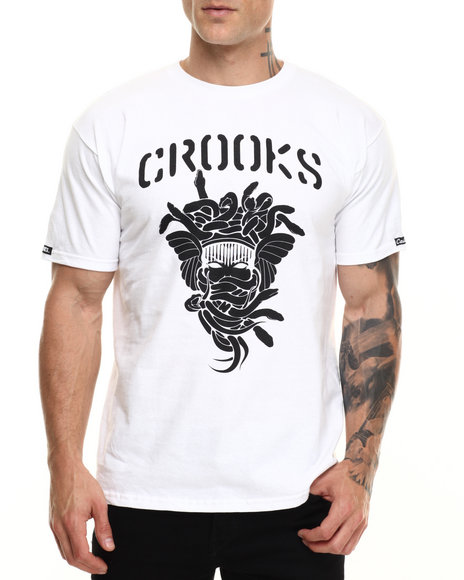 Crooks & Castles - Men White Stencil Medusa T-Shirt