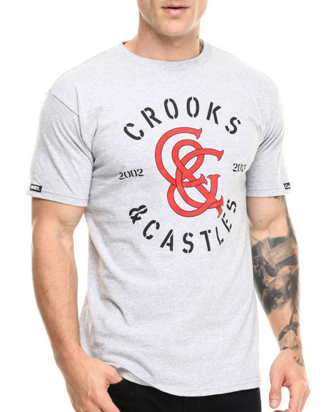 Ur-ID 216838 Crooks & Castles - Men Grey Monogram T-Shirt
