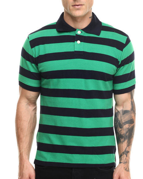 Basic Essentials - Men Green Striped Pique S/S Polo