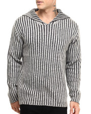 Pullover Sweatshirts - Vert - Striped Collared Sweater