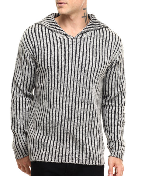 Ur-ID 216798 Buyers Picks - Men Grey Vert - Striped Collared Sweater