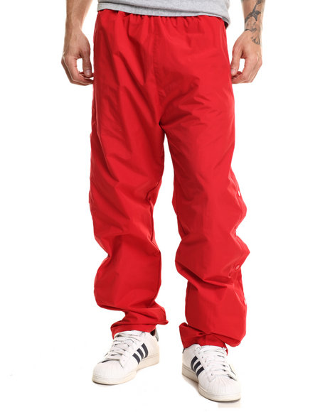 Basic Essentials - Men Red Nylon Breakaway Warm - Up Pants