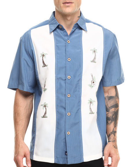 Basic Essentials - Men Blue Palm Tree Havana S/S Button - Down