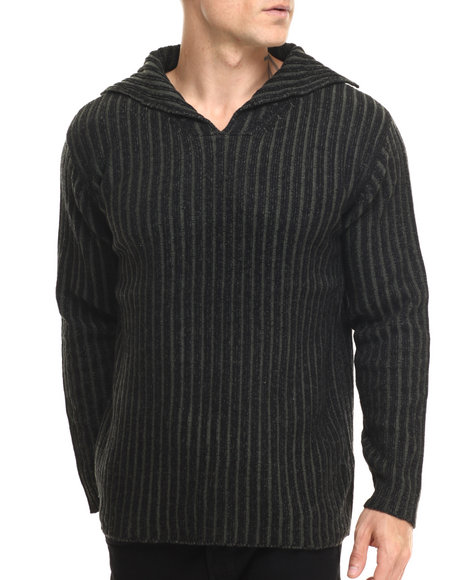 Ur-ID 216821 Buyers Picks - Men Black Vert - Striped Collared Sweater