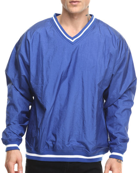 Ur-ID 216785 Basic Essentials - Men Blue Nylon V - Neck Pullover Jacket