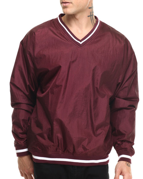 Basic Essentials - Men Maroon Nylon V - Neck Pullover Jacket