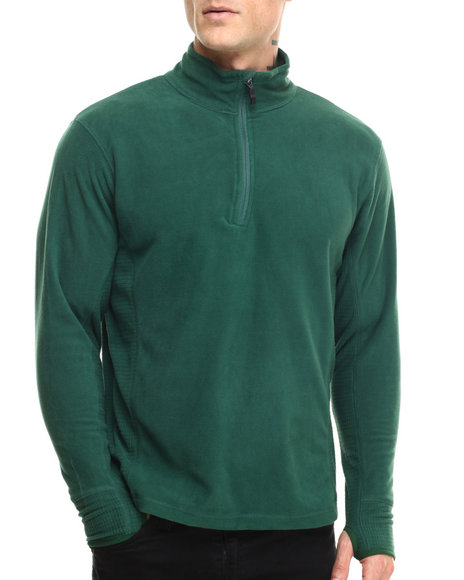 Ur-ID 216818 Basic Essentials - Men Green Half - Zip Arctic Fleece Pullover