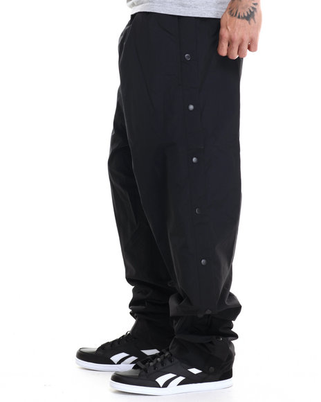 Basic Essentials - Men Black Nylon Breakaway Warm - Up Pants