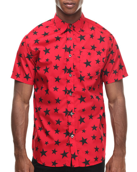 Buyers Picks - Men Red All Over Stars S/S Button Down Shirt